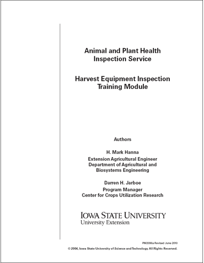 Animal and Plant Health Inspection – Harvest Equipment