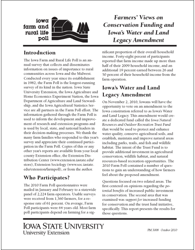 Iowa Farm and Rural Life Poll: Farmers' Views on Conservation Funding and Iowa's Water and Land Legacy Amendment