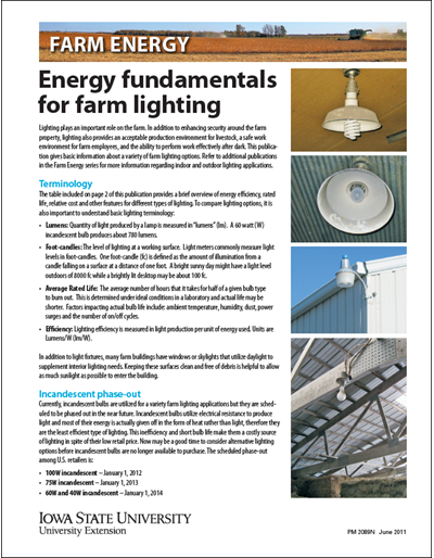 Energy Fundamentals for Farm Lighting - Farm Energy