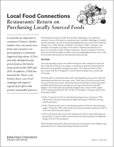 Local Food Connections -- Restaurants' Return on Purchasing Locally Sourced Foods