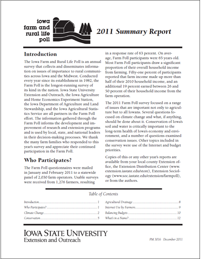 Iowa Farm and Rural Life Poll: 2011 Summary Report