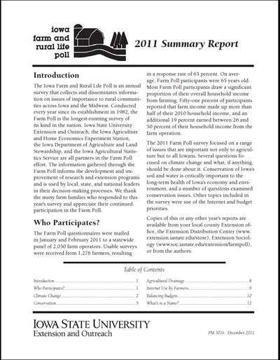 Iowa Farm and Rural Life Poll: 2011 Summary Report