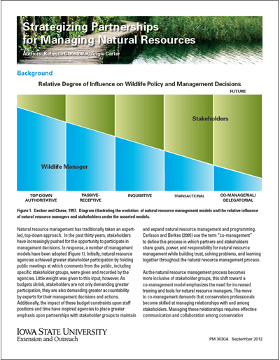 Strategizing Partnerships for Managing Natural Resources
