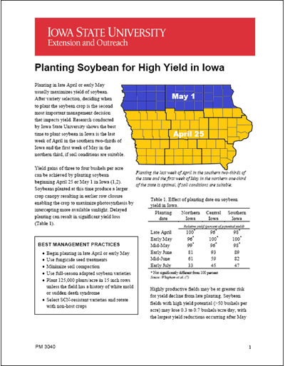 Planting Soybean for High Yield in Iowa