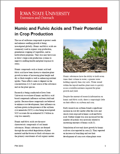 Humic and Fulvic Acids and Their Potential in Crop Production