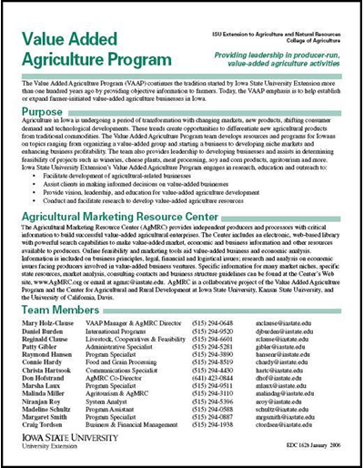 Value Added Agriculture Program -- Providing Leadership in Producer-run, Value-Added Agriculture Activities