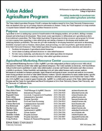 Value Added Agriculture Program -- Providing Leadership in Producer-run, Value-Added Agriculture Activities