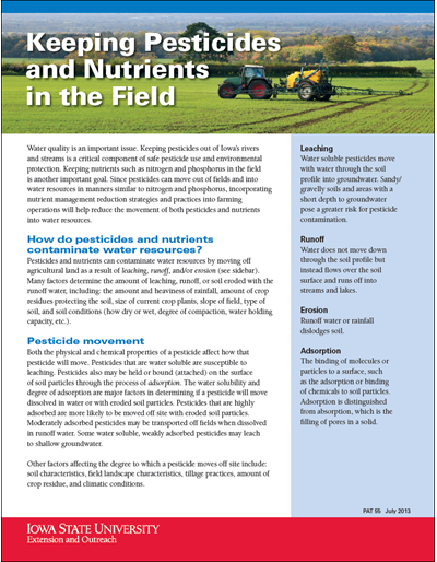 Keeping pesticides and nutrients in the field (Unit=Pkg of 25)