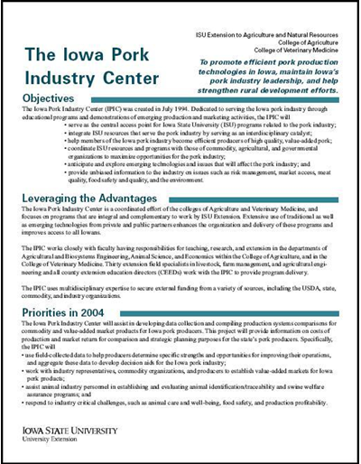 The Iowa Pork Industry Center (brochure)