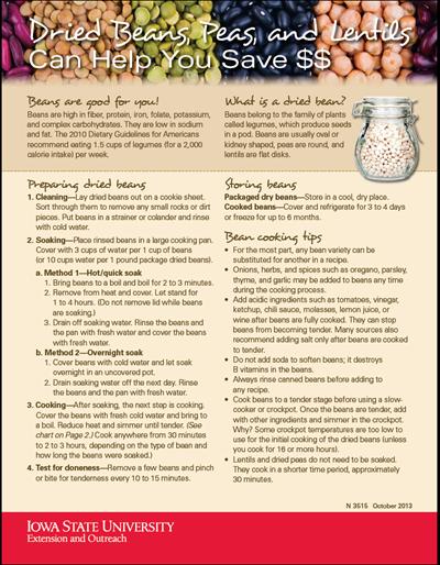 Dried Beans, Peas, and Lentils Can Help You Save $$ / Los frijoles, chícharos y lentejas secos pueden ayudarte a ahorrar dinero