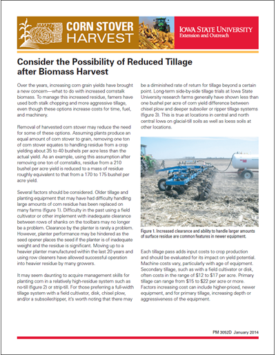 Consider the Possibility of Reduced Tillage after Biomass Harvest