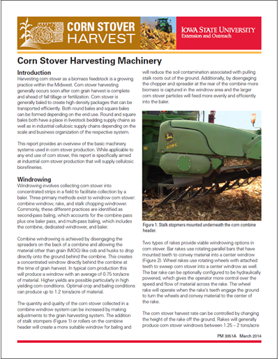Corn Stover Harvesting Machinery