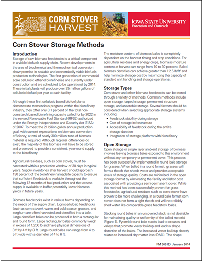 Corn Stover Storage Methods