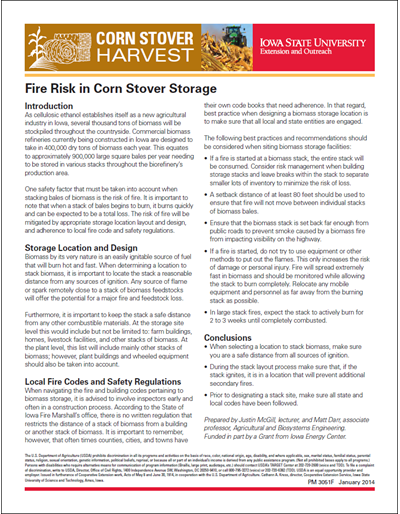 Fire Risk in Corn Stover Storage
