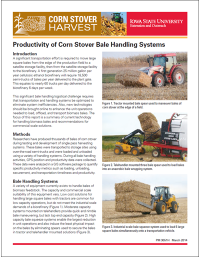 Productivity of Corn Stover Bale Handling Systems