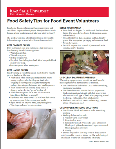 Food Safety Tips for Food Event Volunteers