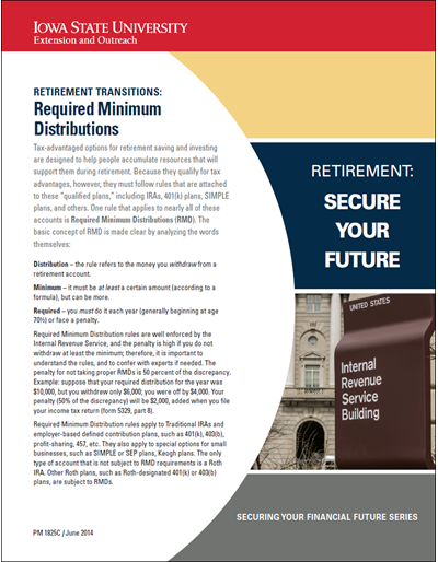 Retirement Transitions: Required Minimum Distributions -- Retirement: Secure Your Future