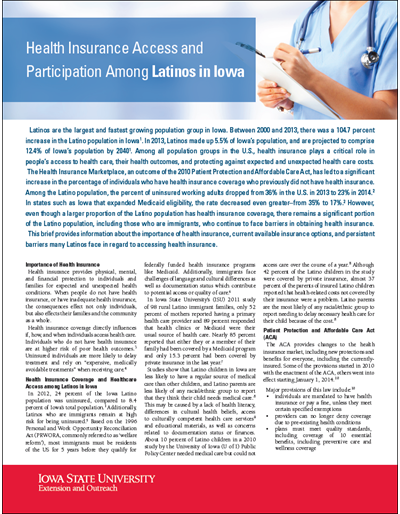Health Insurance Access and Participation Among Latinos in Iowa