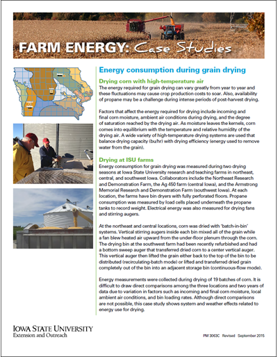 Farm Energy: Case Studies - Energy consumption during grain drying
