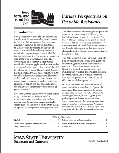 Iowa Farm and Rural Life Poll: Farmer Perspectives on Pesticide Resistance