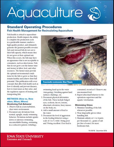 Standard Operating Procedures - Fish Health Management for Recirculating Aquaculture