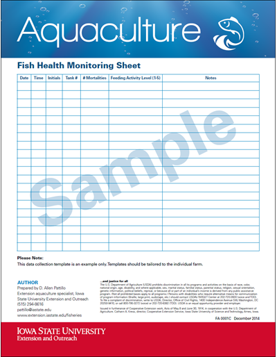 Fish Monitoring Sheet (Sample)