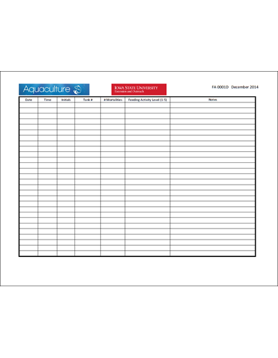 Fish Monitoring Excel Sheet