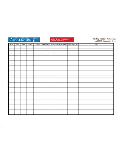 Feeding Practices Monitoring Excel Sheet