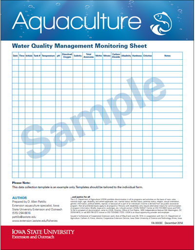 Water Quality Management Monitoring Sheet (Sample)