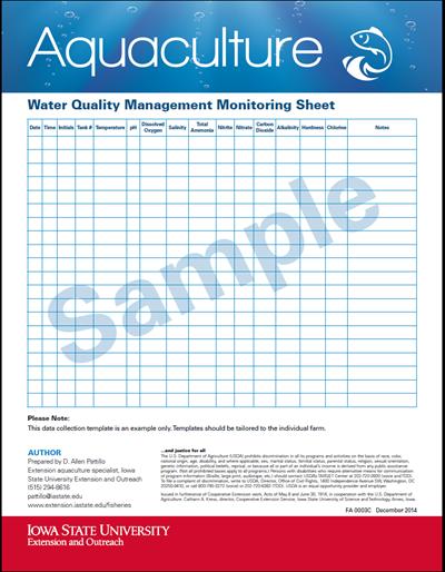 Water Quality Management Monitoring Sheet (Sample)