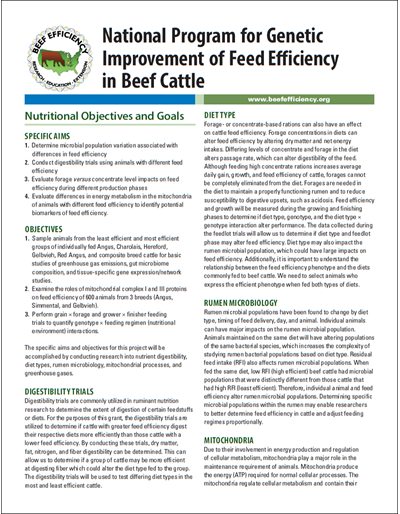 Nutritional Objectives and Goals - National Program for Genetic Improvement of Feed Efficiency in Beef Cattle
