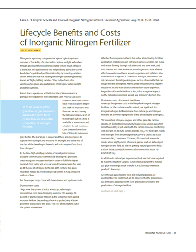 Lifecycle Benefits and Costs of Inorganic Nitrogen Fertilizer