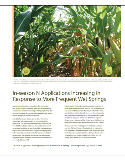 In-season N Applications Increasing in Response to More Frequent Wet Springs