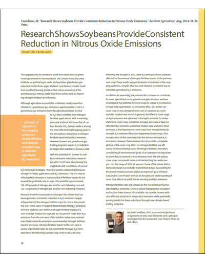 Research Shows Soybeans Provide Consistent Reduction in Nitrous Oxide Emissions
