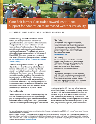 Corn Belt farmers' attitudes toward institutional support for adaptation to increased weather variability