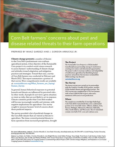 Corn Belt farmers' concerns about pest and disease related threats to their farm operations