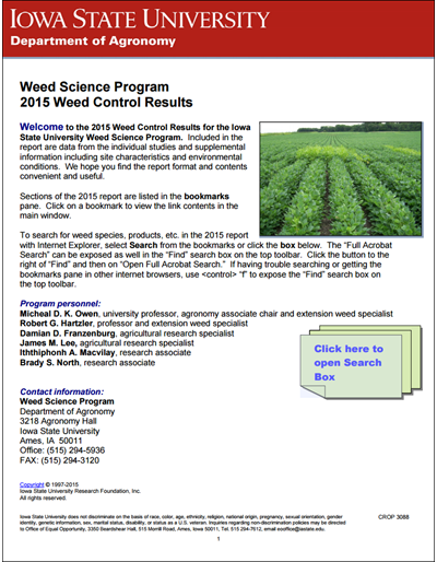 Weed Science Program 2015 Weed Control Results