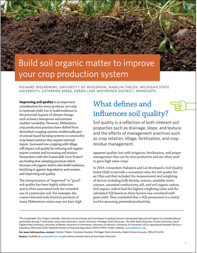 Build Soil Organic Matter to Improve Your Crop Production System
