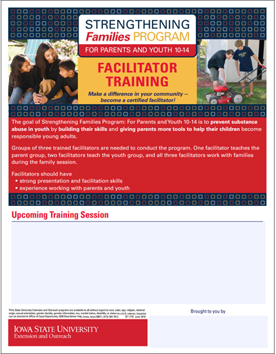 Strengthening Families Program: For Parents and Youth 10-14 - Facilitator Training Flyer - Sponsored