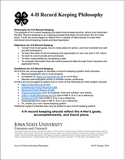 4-H Record Keeping Philosophy