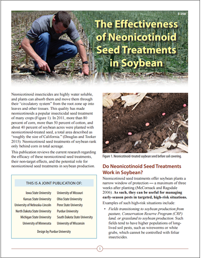 The Effectiveness of Neonicotinoid Seed Treatments in Soybean