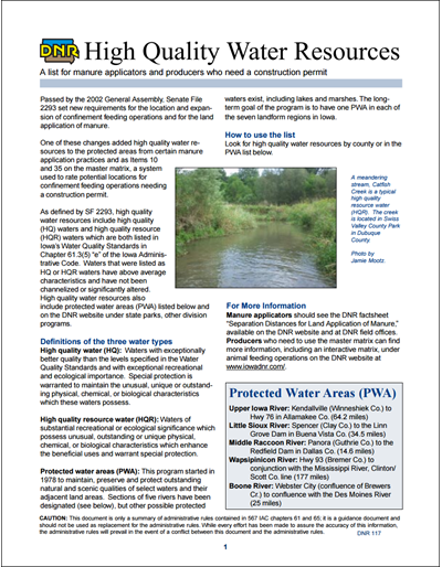 High Quality Water Resources