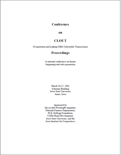 Conference on Clout Proceedings; March 16-17, 2001