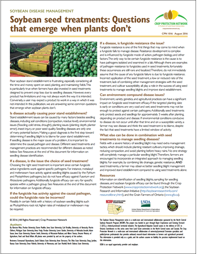 Soybean seed treatments: Questions that emerge when plants don't