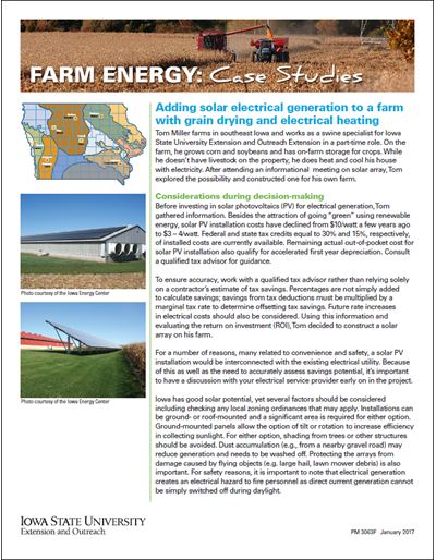 Farm Energy: Case Studies - Adding solar electrical generation to a farm with grain drying and electrical heating