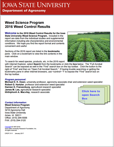 Weed Science Program 2016 Weed Control Results