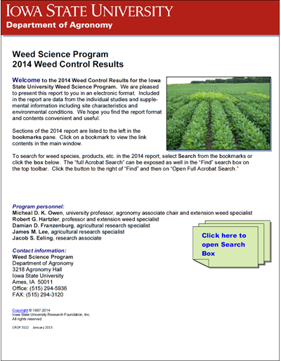 Weed Science Program 2014 Weed Control Results