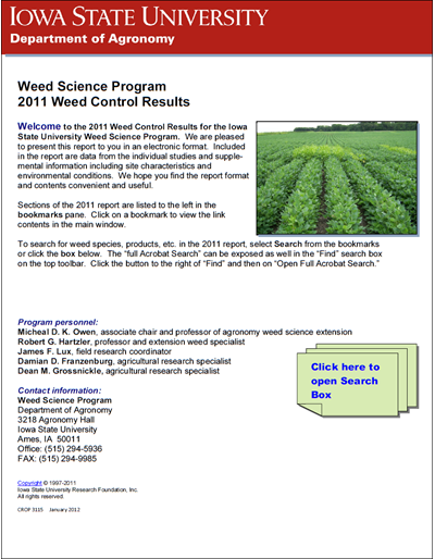 Weed Science Program 2011 Weed Control Results