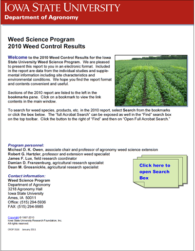 Weed Science Program 2010 Weed Control Results