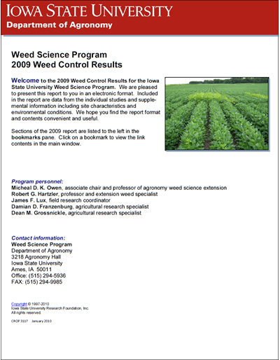 Weed Science Program 2009 Weed Control Results